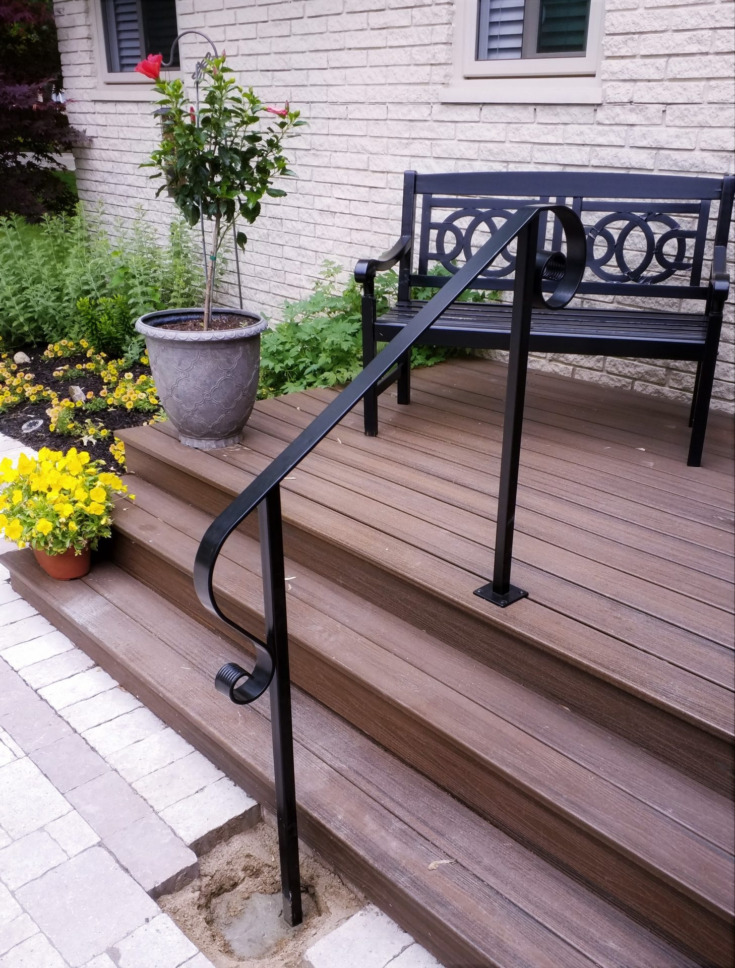 Decorative Steel Handrail At Wood Porch Great Lakes Metal | Ada Compliant Wood Handrails | Accessible Ramp | Wooden Ramp | Commercial | Stair | Deck