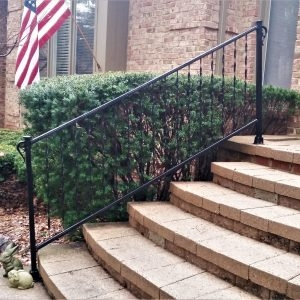 Traditional Wrought Iron Porch Railing Great Lakes Metal Fabrication   Wrought Iron Outdoor Handrails   Curved   Design Boundary   Color   Cottage Style   Drawing