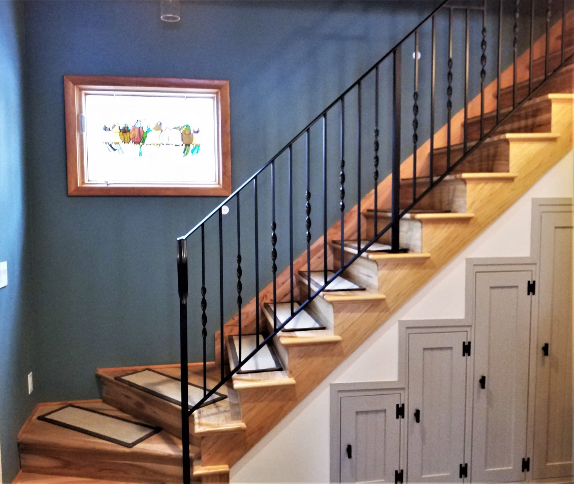 Twisted Wrought Iron Stair Railing Great Lakes Metal Fabrication   Wrought Iron Stair Handrail   Classic   Wall Mounted   Outdoor   Black And Light Wood   Residential
