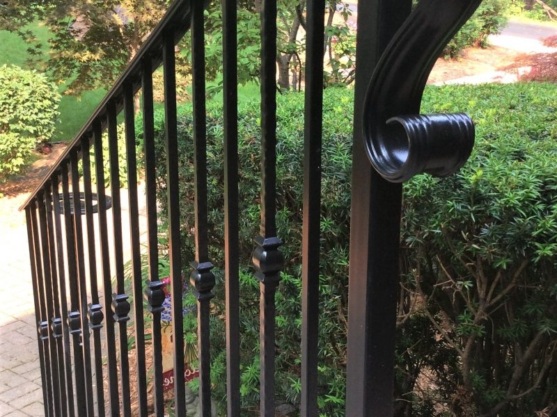 Traditional Wrought Iron Porch Railing Great Lakes Metal Fabrication   Wrought Iron Handrails For Outside Steps   Stair Covering   Front Porch   Metal