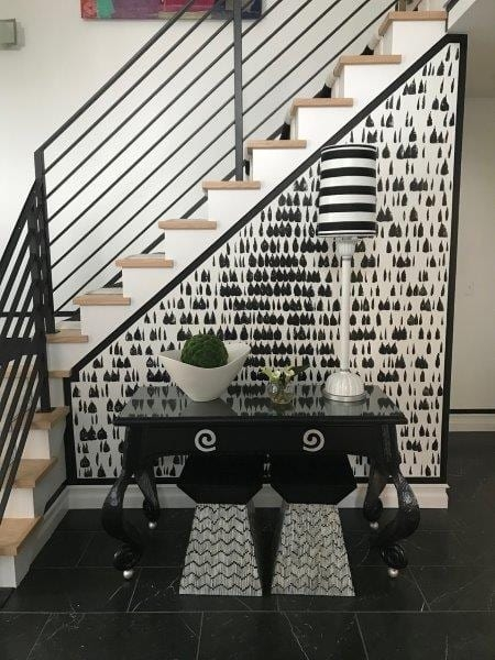 Horizontal Flat Bar Railing For Black And White Interior Great | Modern Black Metal Stair Railing | Balcony | Really Thin | Outdoor | Metal Mesh | Dark Wood