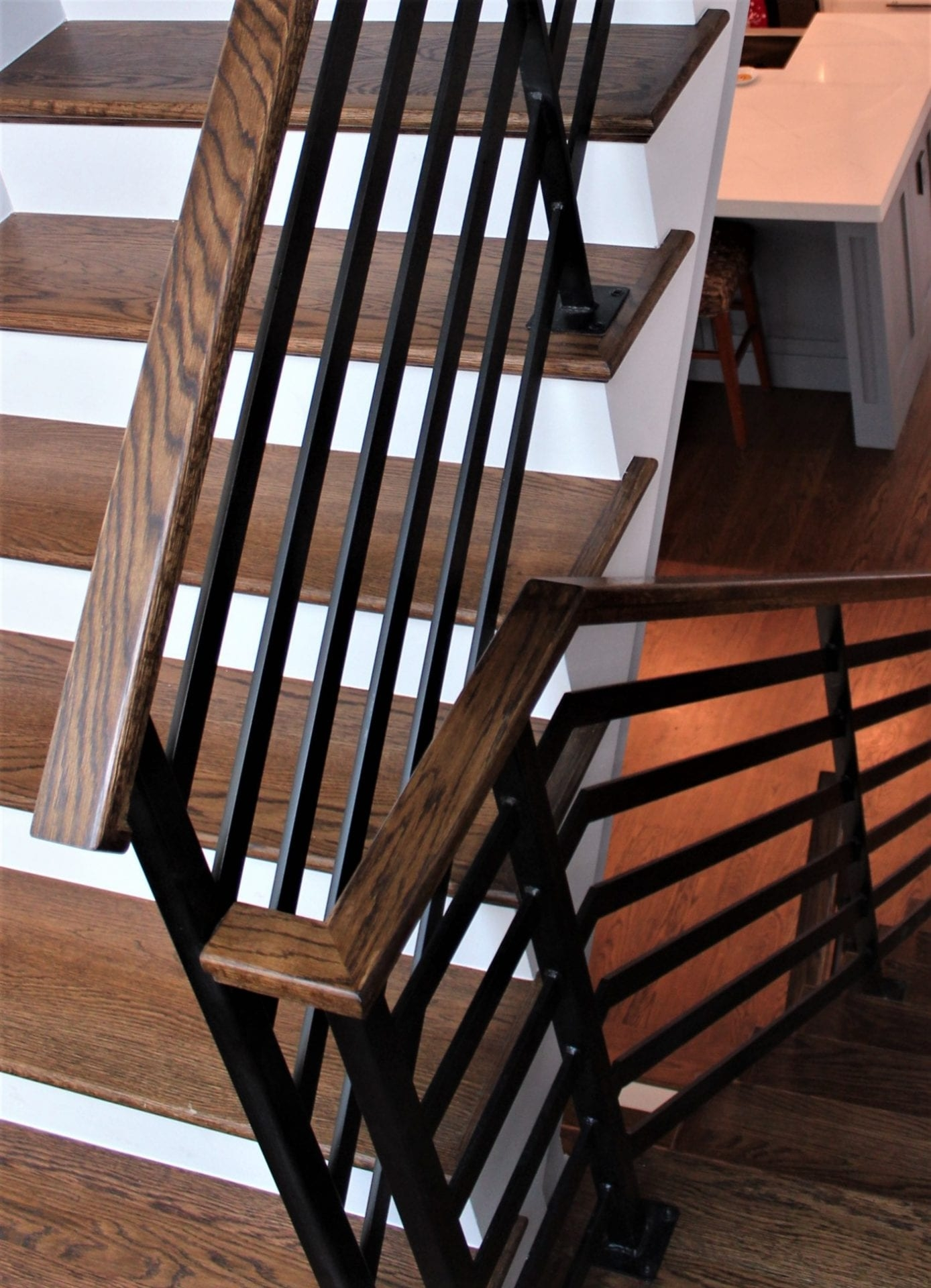 Flat Bar Horizontal Rail With Wood Top Great Lakes Metal Fabrication | Wood And Metal Handrail | Interior | Iron Railing | Architectural Modern Wood Stair | Stainless Steel | Traditional