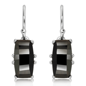 Fancy Cut Black Quartz Silver Earrings