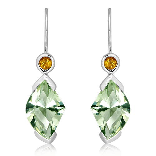 Laser Cut Green Amethyst and Citrines White Gold Earrings