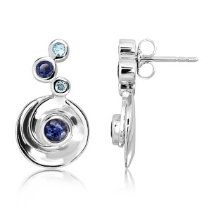 Sterling Silver Earrings with natural Blue Topaz and Iolites Stones