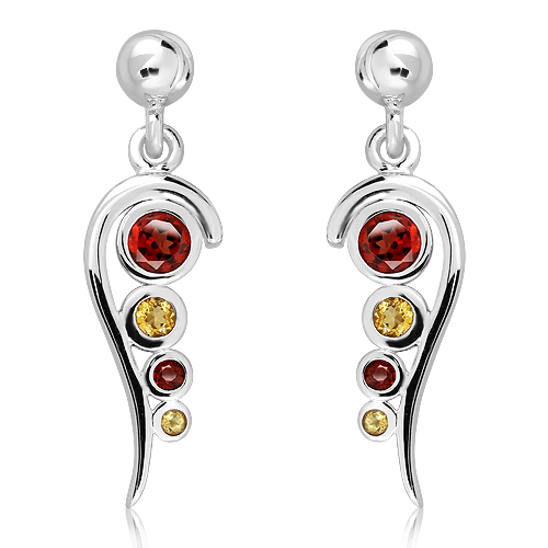 Sterling Silver Earrings with Garnets & Citrines