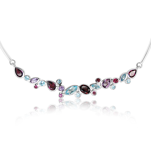Natural Multi-stones Sterling Silver Rhodium Plated Necklace