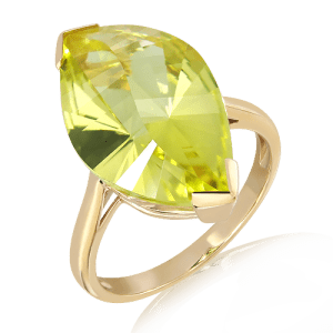 Laser Cut Lemon Quartz in Gold Ring
