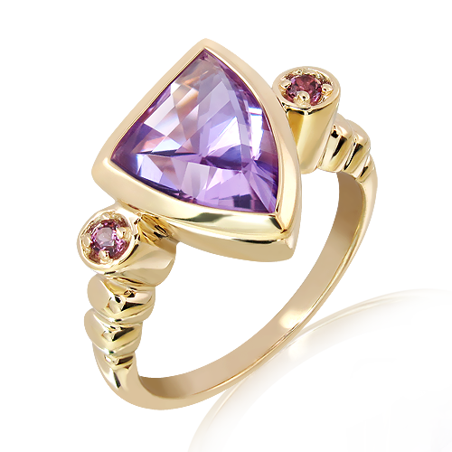 9Ct Gold Ring with Laser Cut Amethyst and Garnets