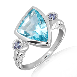 Blue Topaz Laser faceted Ring