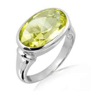 Lemon Quartz laser faceted Ring