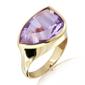 Amethyst and Gold Unique Ring