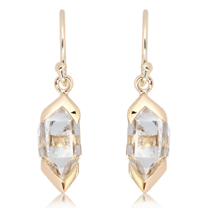 Herkimer Diamond Earrings set in 9 ct Yellow Gold