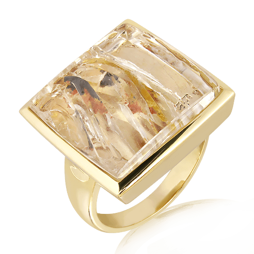 Handmade Gold ring with Glacier Quartz stone