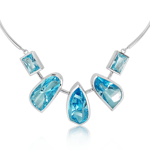 Sterling Silver and Blue Topaz Handmade Necklace