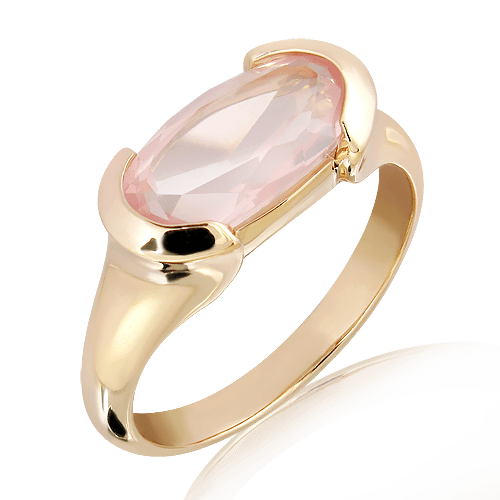 Laser Cut Rose Quartz Ring in Gold