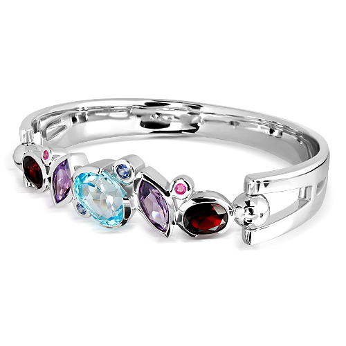 Sterling Silver Cuff Bracelet with Garnets, Amethyst and Blue Topaz