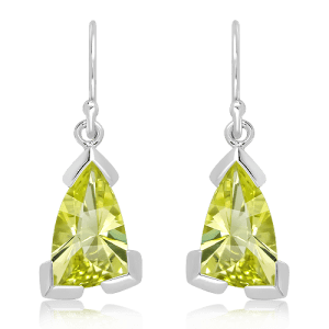 Laser Cut Lemon Quartz in White Gold Earrings