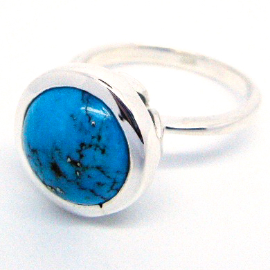 Handmade Sterling Silver Ring with natural Arizona Turquoise