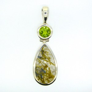 Rutilated Quartz and Peridot Pendant
