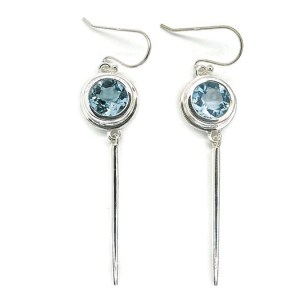 Handmade Sterling Silver Dangle Earrings with Blue Topaz