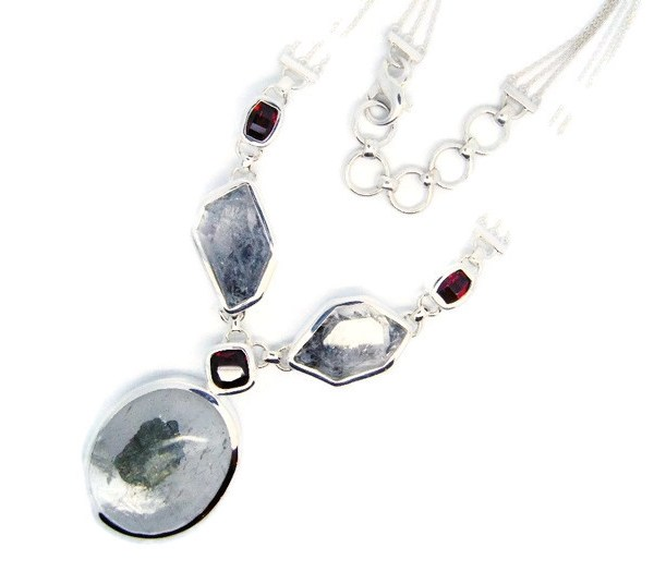 Handmade Sterling Silver Necklace with Herkimer Diamonds, Quartz and Garnets