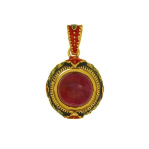 Enamel Italian Pendant with Low Grade Ruby and Natural Stones