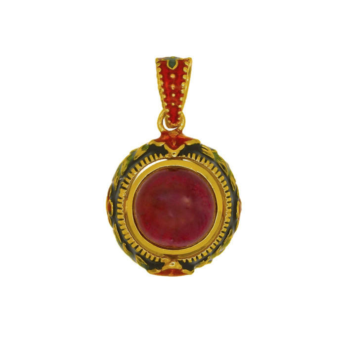 Enamel italian pendant with low grade ruby and natural stones enamel italian pendant with low grade ruby and natural stones mozeypictures Image collections