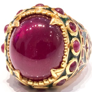 Enamel Italian Ring with Low Grade Ruby Italian Made
