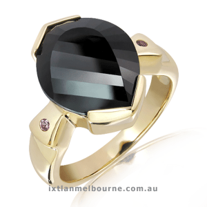 9 Ct. Yellow Gold Ring with Laser Cut Black Quartz Stone.