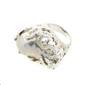 Baroque Deep Sea Pearl set in Sterling Silver Ring