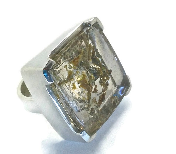 Handmade Sterling Silver Ring with Glacier Quartz