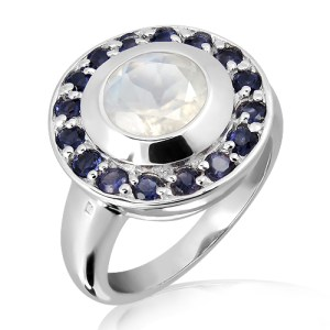 Moonstone and Iolites set in Sterling Silver Ring