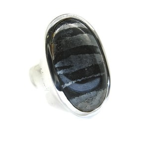 Handmade Banded Hematite Silver Ring