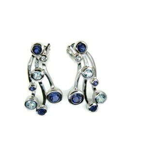 Sterling Silver Stud Earrings with Iolites and Blue Topaz