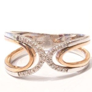 9 Ct. Rose & White Gold Ring with Diamonds