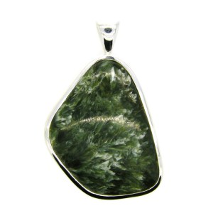 Seraphinite set in Handmade Silver Pendant