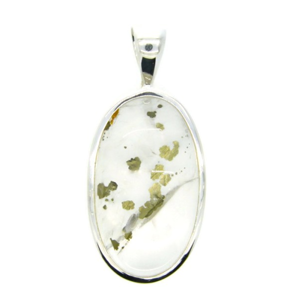 Clear Quartz with Pyrite Inclusions Handmade Pendant
