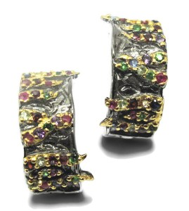Rhodium and Gold Plated Silver earrings with Stones
