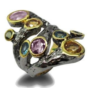 Multi Stones Ring with black Rhodium