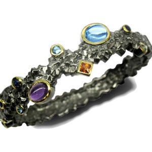 Unique Bracelet with dark Rhodium and Gold plating
