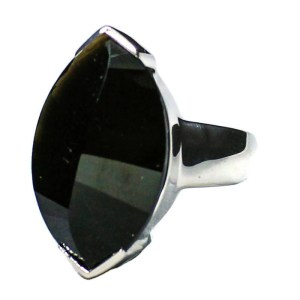 Fancy cut Black Quartz in Silver Ring