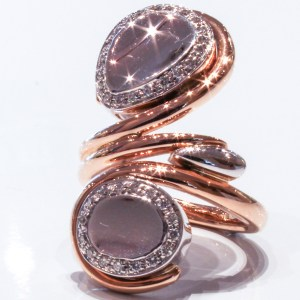 Rose and White Gold and Diamonds Ring