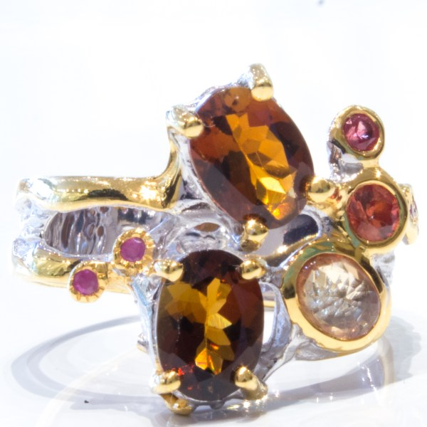 Orange Tourmaline Yellow Sapphire Ring