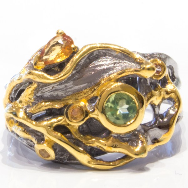 Dark Rhodium and Gold Plated ring with Stones