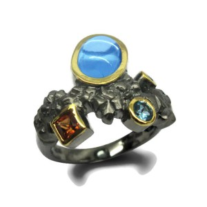 Blue Topaz and Sapphires Ring
