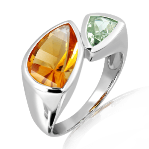 Laser Faceted Citrine and Green Amethyst Silver Ring