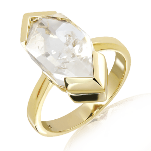 Handmade Gold and Herkimer Diamond Ring