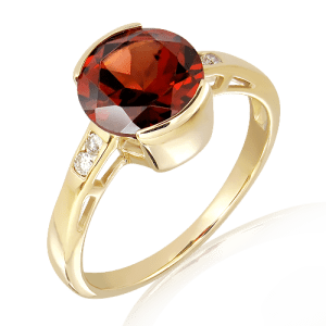 Garnet and Diamonds Handmade Ring