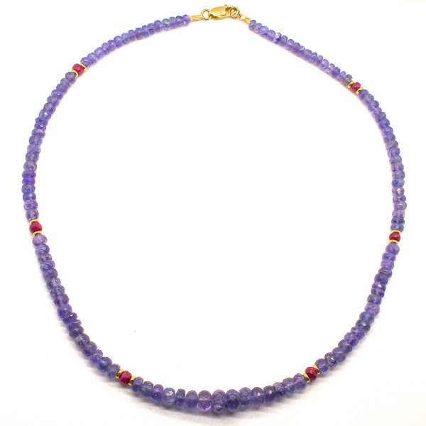 Tanzanite and Rubies Handmade Necklace